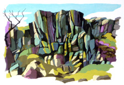 Silkscreen print of Rocky Valley, Ilkley Moor