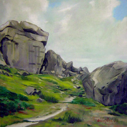 Painting of the Cow and Calf rocks on Ilkley moor