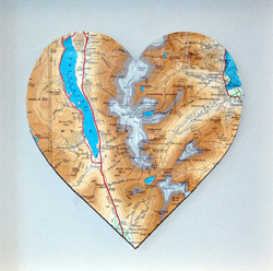 Vintage map of lakes and mountains made into the shape of a heart