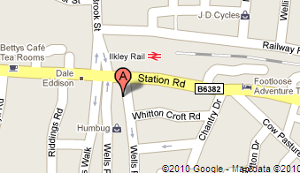 Map of our location on Wells Road in Ilkley