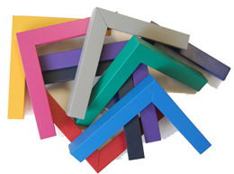 Selection of different brightly coloured wooden frames