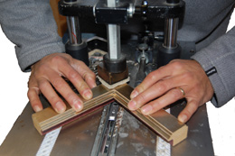 Picture frame being jointed on an underpinner