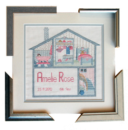 Cross stitch picture showing choice of four different matching frames